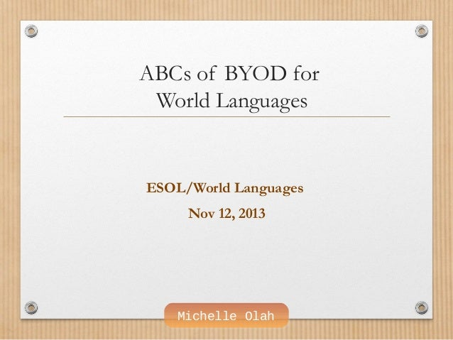 ABCs of BYOD for World Languages  ESOL/World Languages Nov 12, 2013  Michelle Olah
