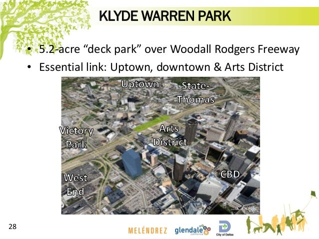 """KLYDE WARREN PARK • 5.2-acre """"deck park"""" over Woodall Rodgers Freeway • Essential link: Uptown, downtown & Arts District 28"""