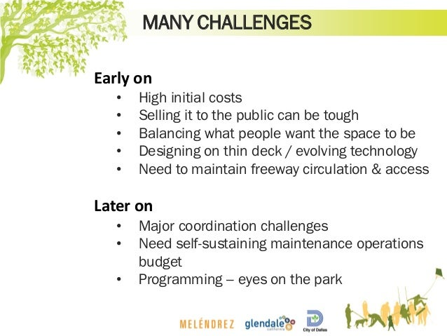 MANY CHALLENGES Early on • High initial costs • Selling it to the public can be tough • Balancing what people want the spa...