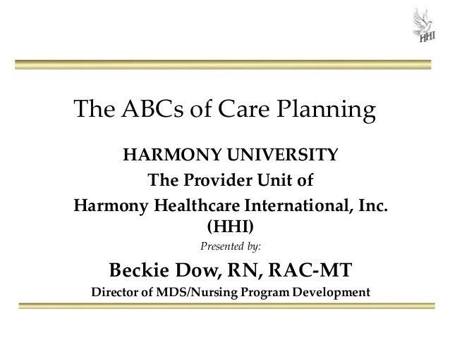 The ABCs of Care Planning HARMONY UNIVERSITY The Provider Unit of Harmony Healthcare International, Inc. (HHI) Presented b...