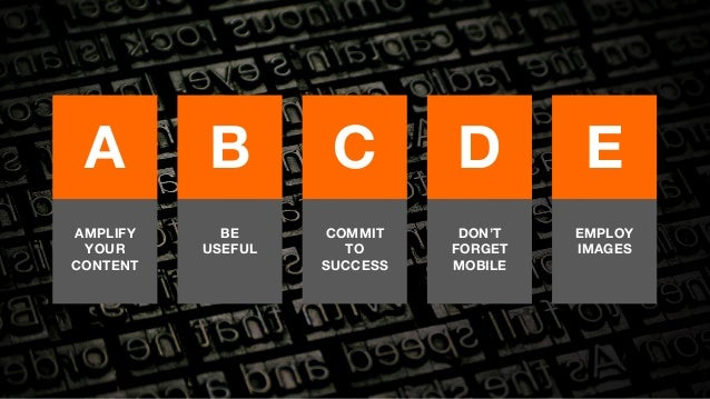 A  B  C  D  E  AMPLIFY  YOUR  CONTENT  BE  USEFUL  COMMIT  TO  SUCCESS  DON'T  FORGET  MOBILE  EMPLOY  IMAGES