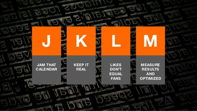 J  K  L  M  JAM THAT  CALENDAR  KEEP IT  REAL  LIKES  DON'T  EQUAL  FANS  MEASURE  RESULTS  AND  OPTIMIZED