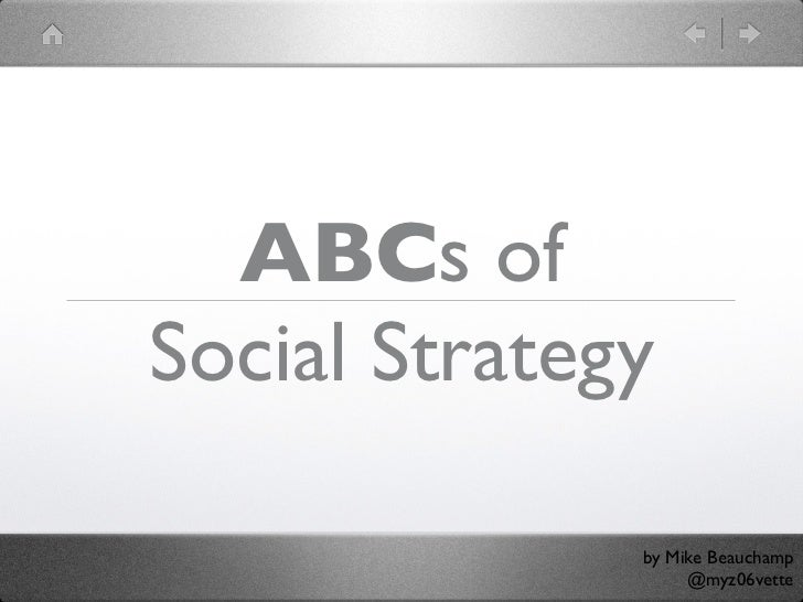 ABCs ofSocial Strategy              by Mike Beauchamp                   @myz06vette