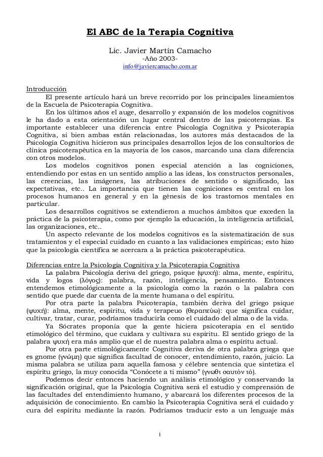 El ABC de la Terapia Cognitiva Lic. Javier Martín Camacho -Año 2003info@javiercamacho.com.ar Introducción El presente artí...