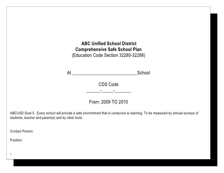 ABC Unified School District                                            Comprehensive Safe School Plan                     ...