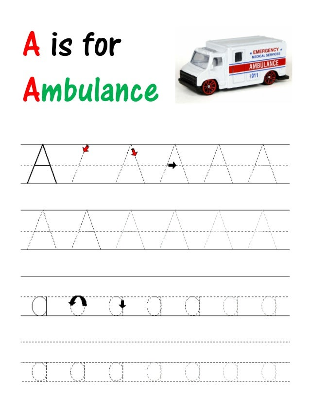 Worksheets Abc Writing abc writing practise a is for ambulance