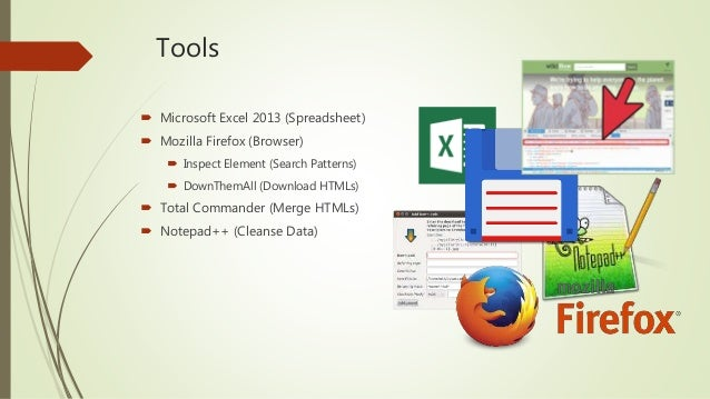 Tools  Microsoft Excel 2013 (Spreadsheet)  Mozilla Firefox (Browser)  Inspect Element (Search Patterns)  DownThemAll (...