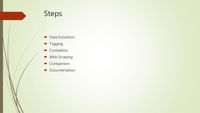 Steps  Data Extraction  Tagging  Correlation  Web Scraping  Comparison  Documentation