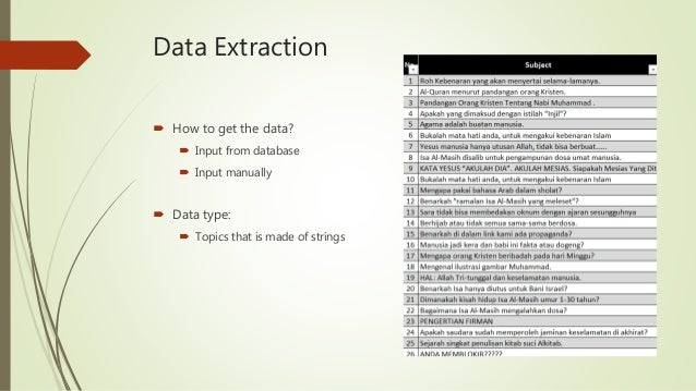 Data Extraction  How to get the data?  Input from database  Input manually  Data type:  Topics that is made of strings