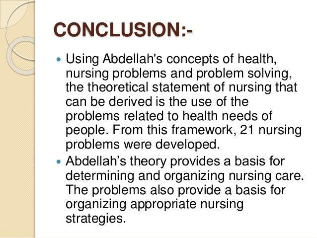 Application to Nursing Practice: Faye Abdellah's Theory