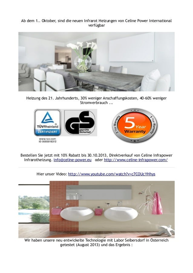 ab dem 1 oktober sind die neuen infrarot heizungen von celine powe. Black Bedroom Furniture Sets. Home Design Ideas