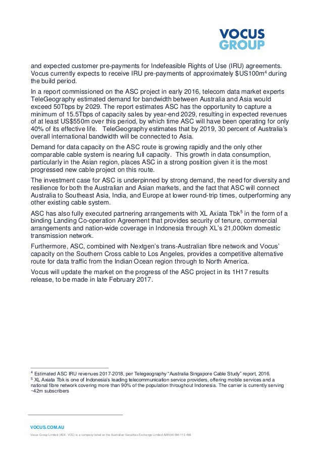 VOCUS.COM.AU Vocus Group Limited (ASX: VOC) is a company listed on the Australian Securities Exchange Limited ABN 96 084 1...
