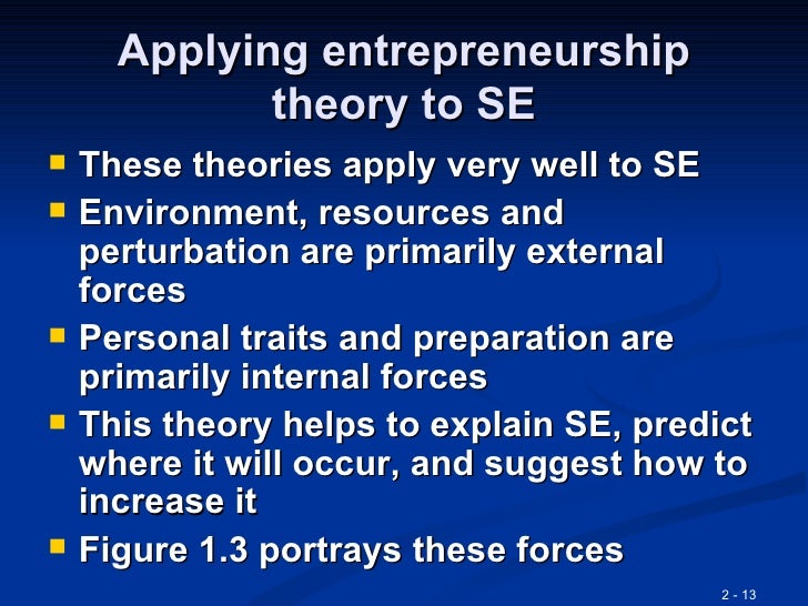 entrepreneurship and trait theory Psyc231 essay: informing ambitious career choice: social cognitive and trait theories of personality and entrepreneurial intentions.