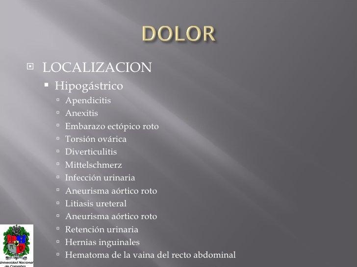 <ul><li>LOCALIZACION </li></ul><ul><ul><li>Hipogástrico </li></ul></ul><ul><ul><ul><li>Apendicitis </li></ul></ul></ul><ul...