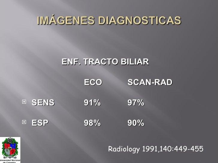 <ul><li>ENF. TRACTO BILIAR </li></ul><ul><li>ECO SCAN-RAD </li></ul><ul><li>SENS 91% 97% </li></ul><ul><li>ESP 98% 90% </l...