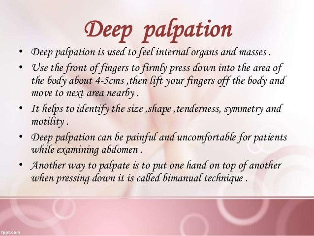 Bimanual technique for palpation meaning