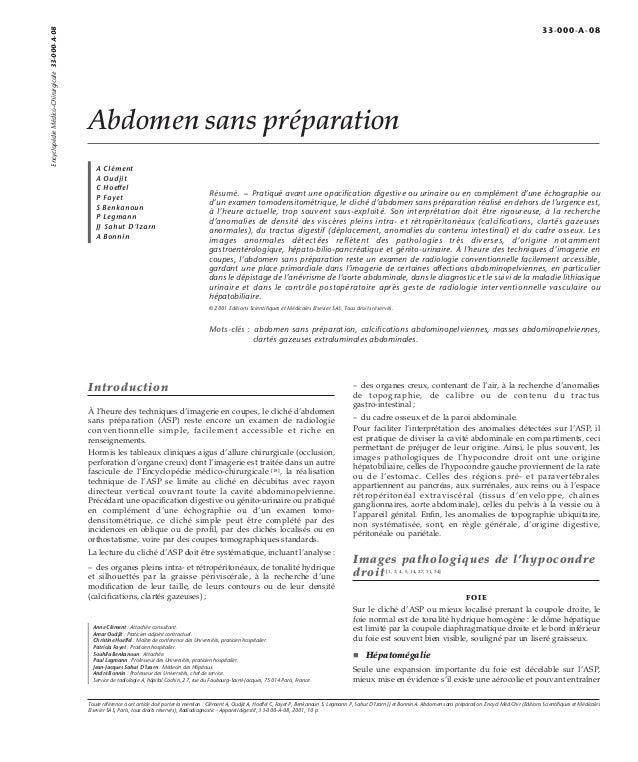 Abdomen sans préparation  A Clément  A Oudjit  C Hoeffel  P Fayet  S Benkanoun  P Legmann  JJ Sahut D'Izarn  A Bonnin  Rés...