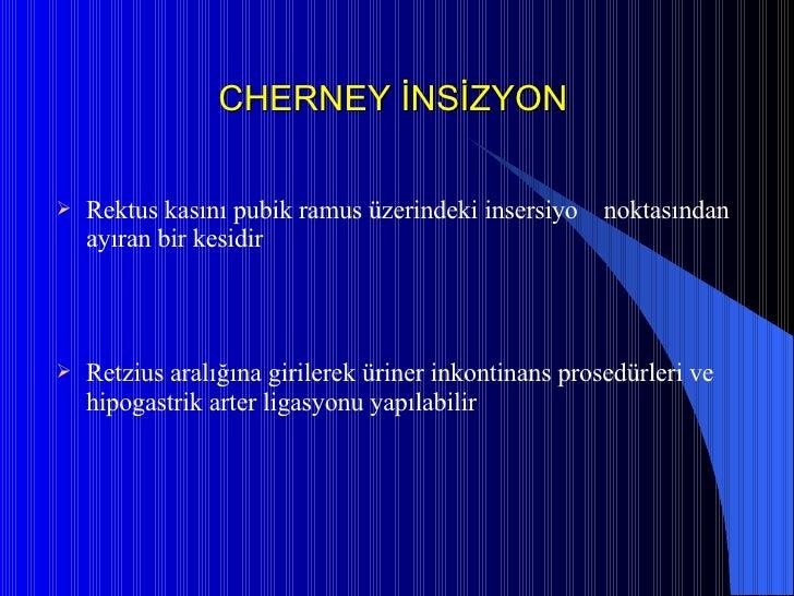 CHERNEY İNSİZYON <ul><li>Rektus kasını pubik ramus üzerindeki insersiyo  noktasından ayıran bir kesidir </li></ul><ul><li>...