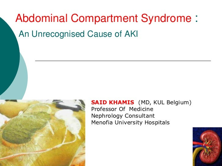 Abdominal Compartment Syndrome :An Unrecognised Cause of AKI                SAID KHAMIS (MD, KUL Belgium)                P...