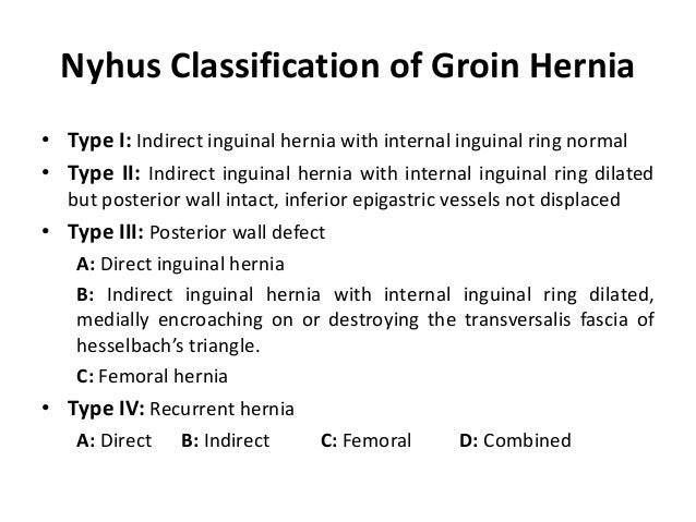 Nyhus Classification of Groin Hernia• Type I: Indirect inguinal hernia with internal inguinal ring normal• Type II: Indire...