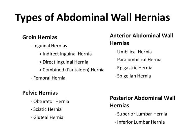 Types of Abdominal Wall Hernias Groin Hernias                          Anterior Abdominal Wall    - Inguinal Hernias      ...