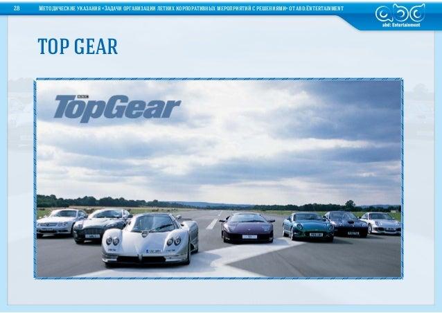 TOP GEAR28 Методические указания «Задачи организации летних корпоративных мероприятий срешениями» отabd:Entertainment