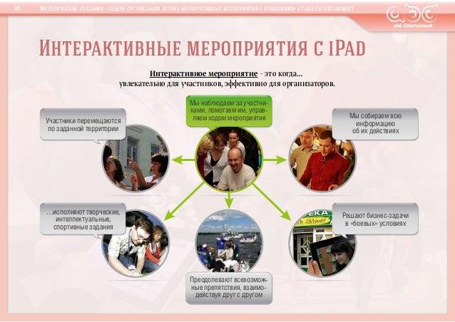 Интерактивные мероприятия сiPadПреодолевают всевозмож-ные препятствия, взаимо-действуя друг с другомУчастники перемещаютс...