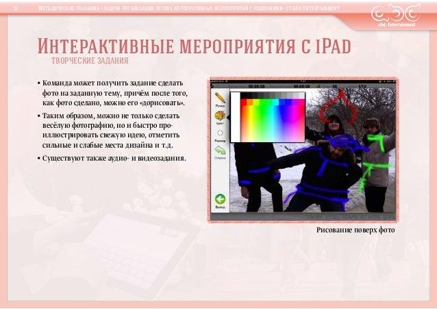 Интерактивные мероприятия сiPadТВОРЧЕСКИЕ ЗАДАНИЯ•Команда может получить задание сделатьфото назаданную тему, причём по...