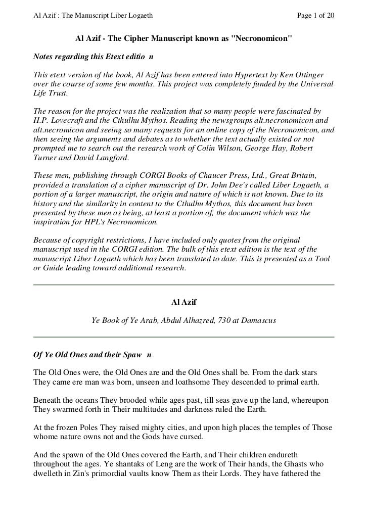 Al Azif : The Manuscript Liber Logaeth                                       Page 1 of 20             Al Azif - The Cipher...