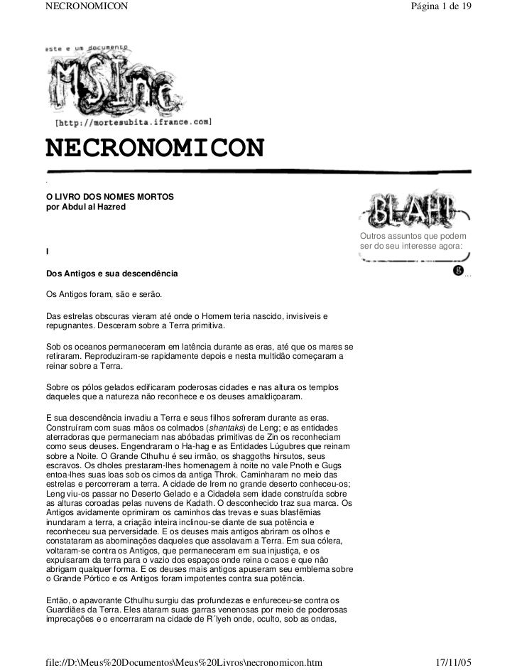 NECRONOMICON                                                                                   Página 1 de 19NECRONOMICON....