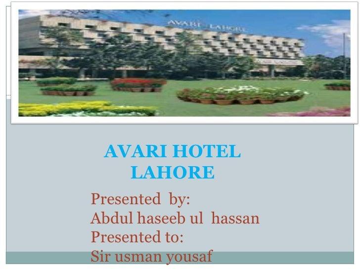 Avari ramada hotel case analysis