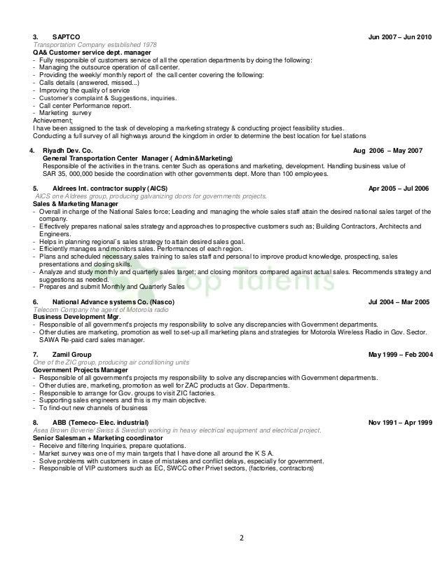 2 3. SAPTCO Jun 2007 – Jun 2010 Transportation Company established 1978 QA& Customer service dept. manager - Fully respons...