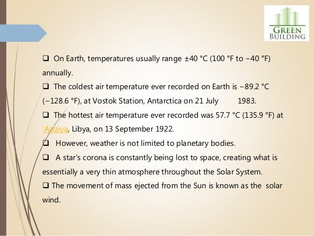  On Earth, temperatures usually range ±40 °C (100 °F to −40 °F) annually.  The coldest air temperature ever recorded on ...
