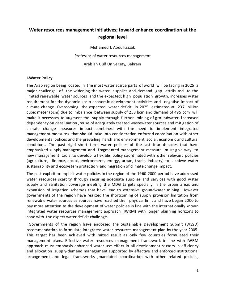 Water resources management initiatives; toward enhance coordination at the                              regional level    ...