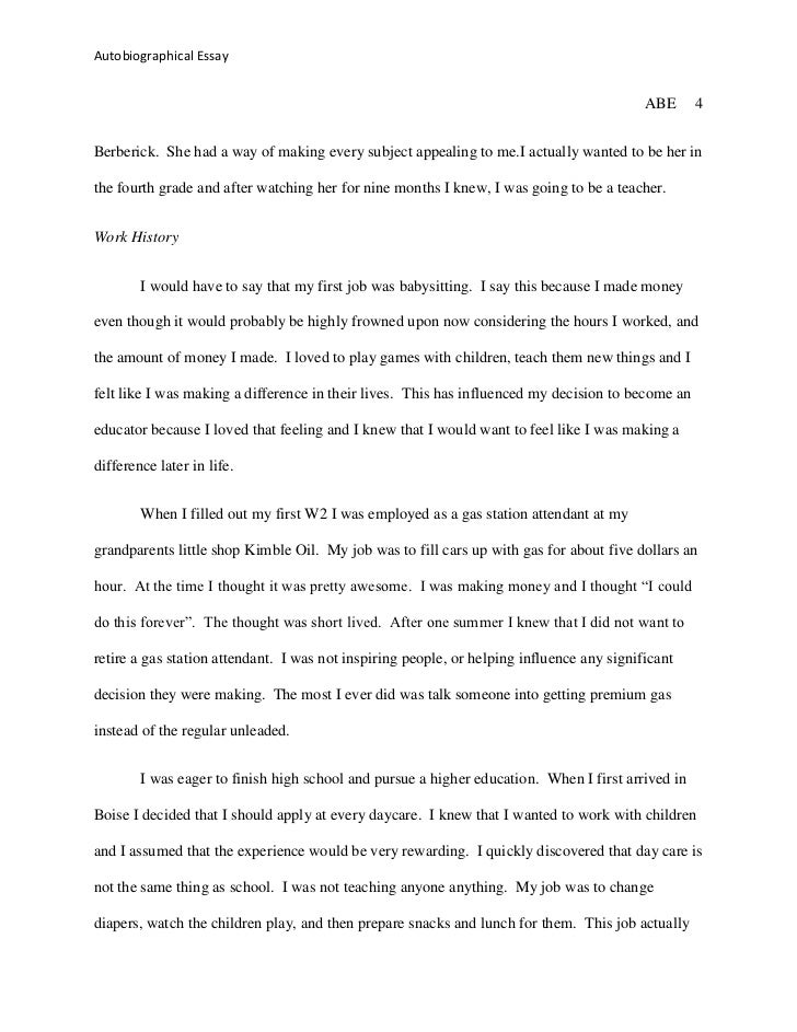 autobiographical essay  4 autobiographical essay