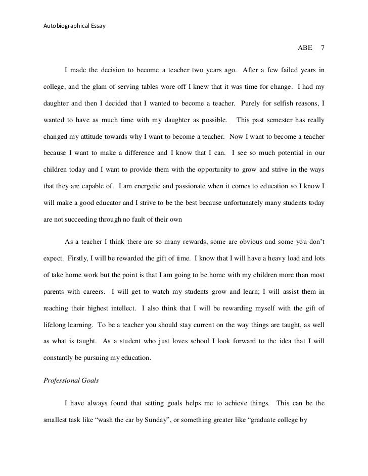Ways to begin an autobiographical essay