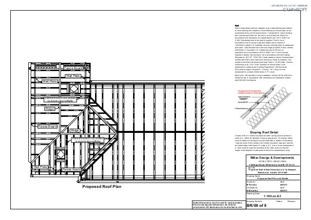 Br09 proposed roof plan and details for Flat roof plan drawing