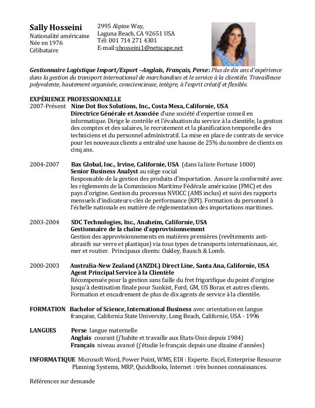 Sally Hosseini Nationalité américaine Née en 1976 Célibataire 2995 Alpine Way, Laguna Beach, CA 92651 USA Tél: 001 714 271...
