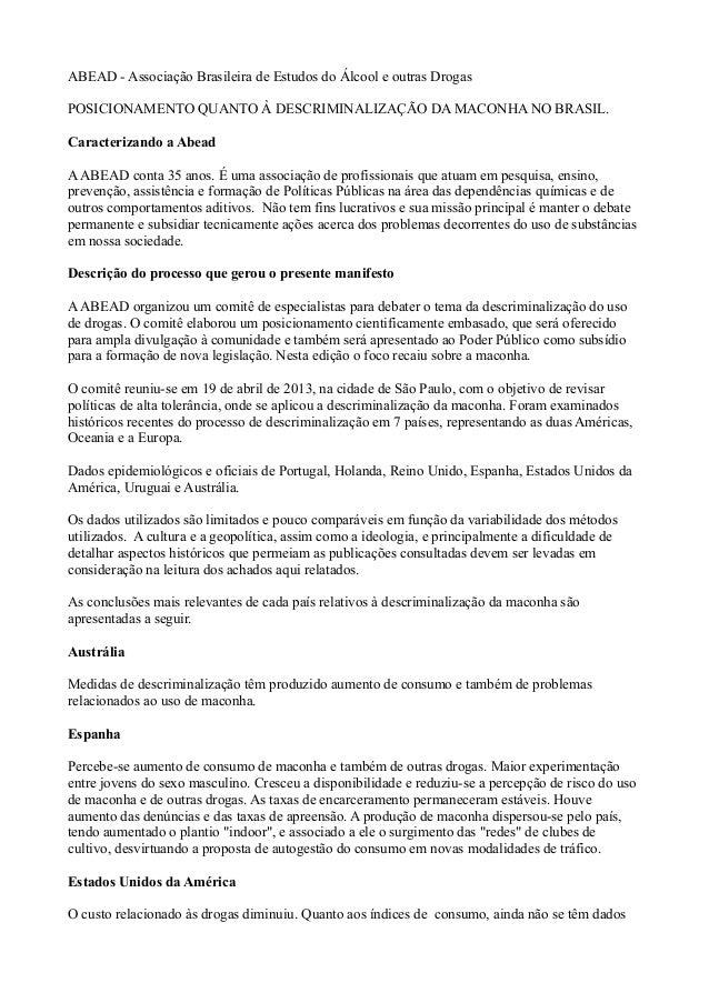 ABEAD - Associação Brasileira de Estudos do Álcool e outras DrogasPOSICIONAMENTO QUANTO À DESCRIMINALIZAÇÃO DA MACONHA NO ...