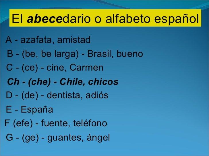 El  abece dario o alfabeto español A - azafata, amistad B - (be, be larga) - Brasil, bueno C - (ce) - cine, Carmen Ch - (c...