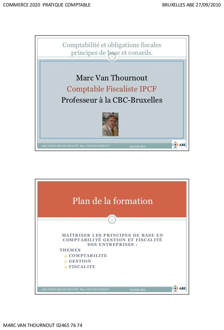 COMMERCE 2020 PRATIQUE COMPTABLE                                               BRUXELLES ABE 27/09/2010                   ...