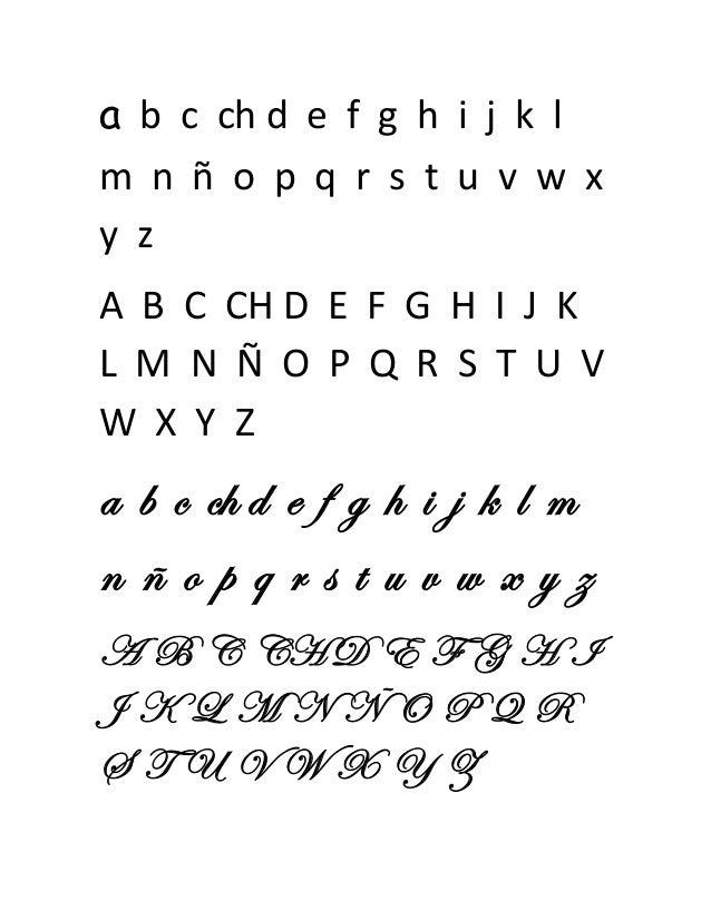 Abecedario mayuscula y minuscula en cursiva