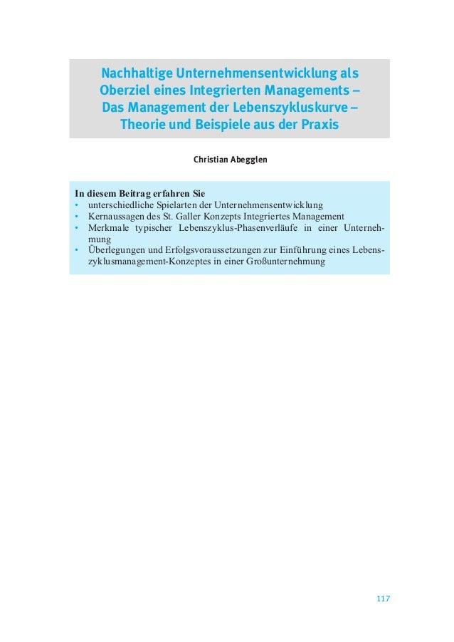 117 Nachhaltige Unternehmensentwicklung als Oberziel eines Integrierten Managements – Das Management der Lebenszykluskurve...