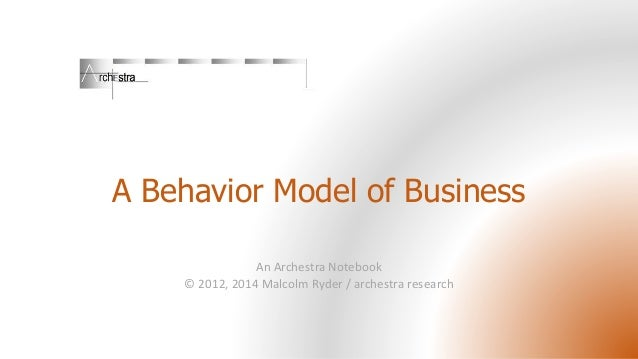 A Behavior Model of Business An Archestra Notebook © 2012, 2014 Malcolm Ryder / archestra research