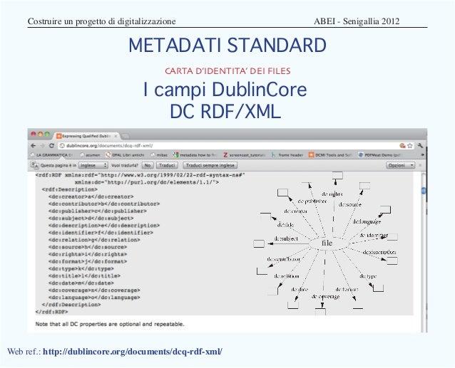 Costruire un progetto di digitalizzazione                  ABEI - Senigallia 2012                              METADA...