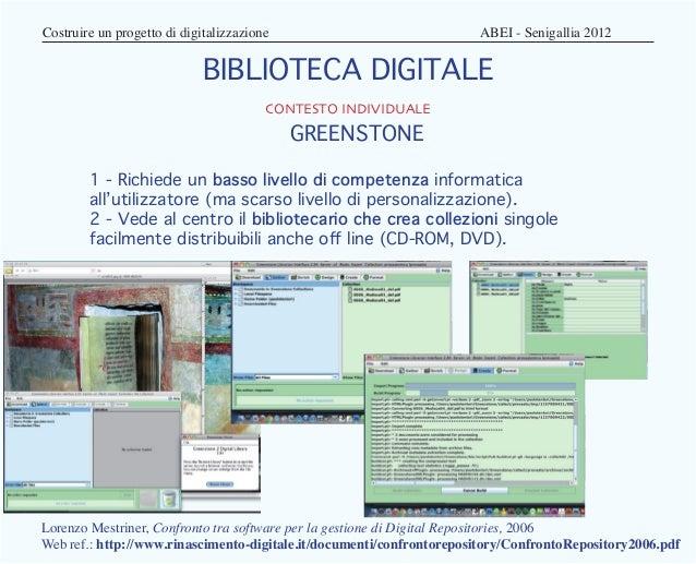Costruire un progetto di digitalizzazione                        ABEI - Senigallia 2012                          BIBL...