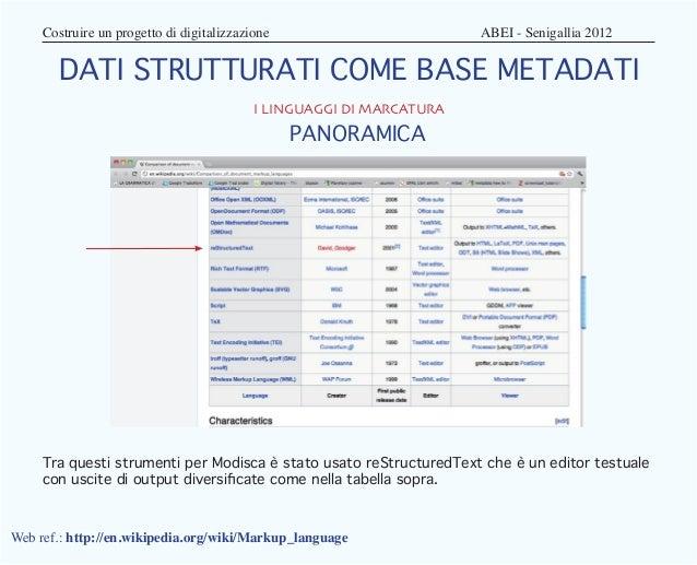 Costruire un progetto di digitalizzazione                 ABEI - Senigallia 2012       DATI STRUTTURATI COME BASE MET...