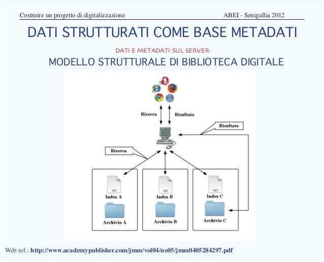 Costruire un progetto di digitalizzazione                    ABEI - Senigallia 2012       DATI STRUTTURATI COME BASE ...