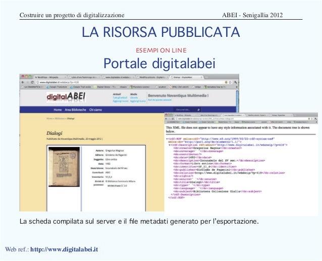 Costruire un progetto di digitalizzazione                   ABEI - Senigallia 2012                            LA RISO...