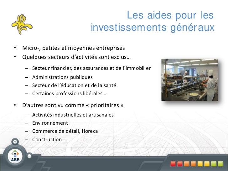 Les aides pour les                                   investissements génér aux• Micro-, petites et moyennes entreprises• Q...
